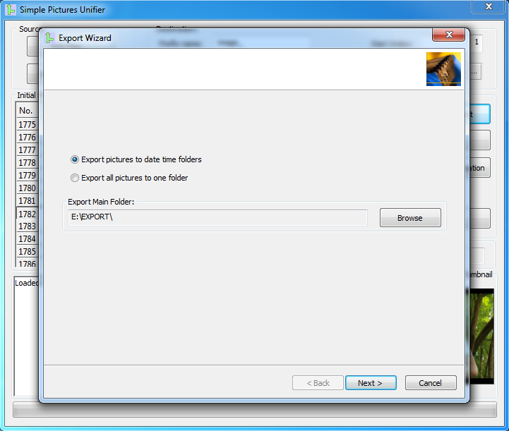 Export Wizard dialog